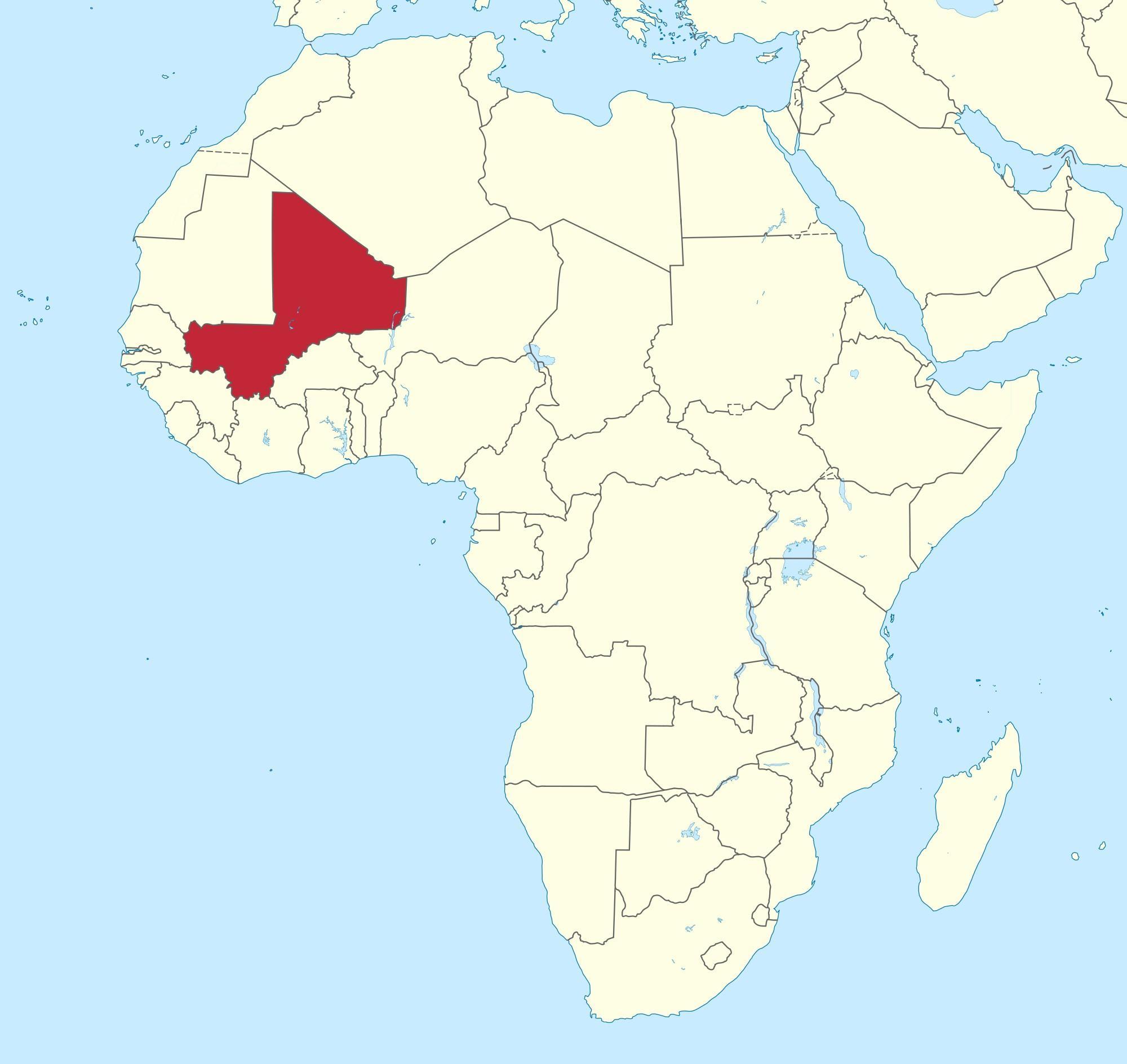 Le Mali sur la carte du monde - Mali localisation sur une carte du monde (Afrique de l'Ouest ...